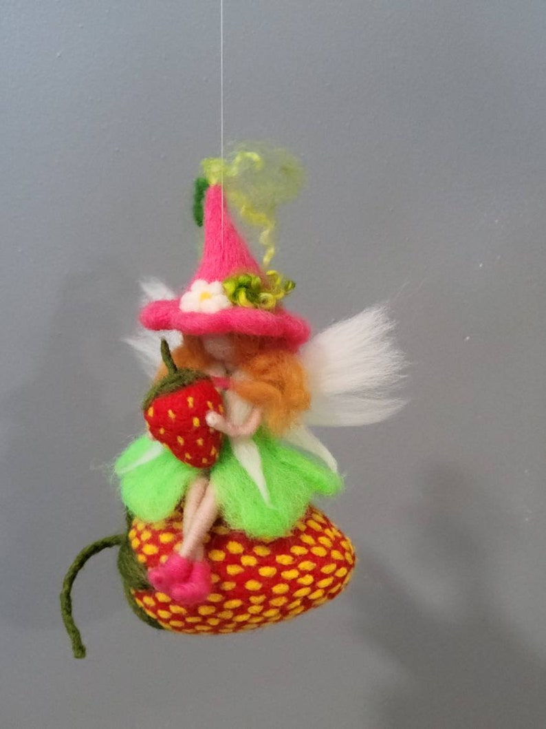Needle felted  strawberry fairy ornament