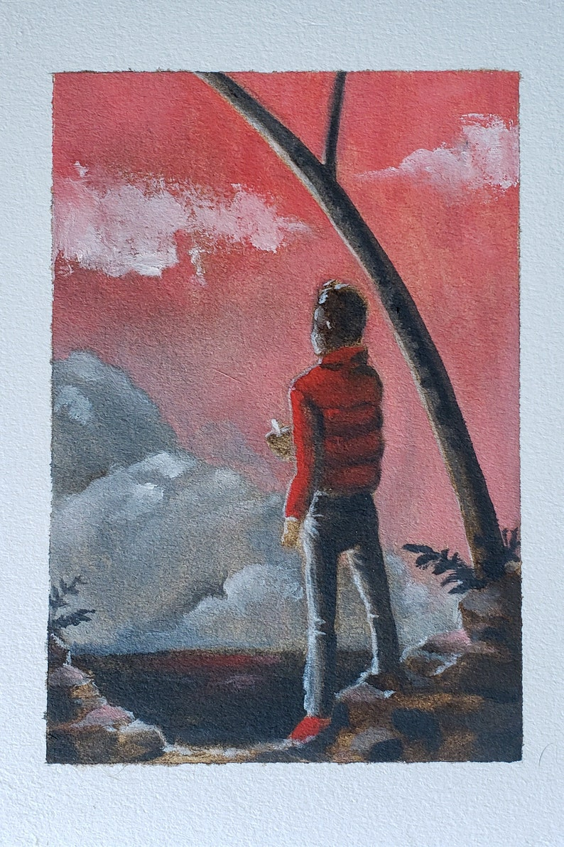 Pink Sunset on Beach  Oil on Paper image 0