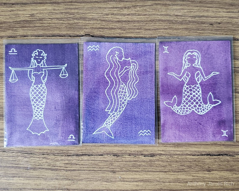 Zodiac Mermaid Trading Card  Ink and Watercolor on Paper Aquarius