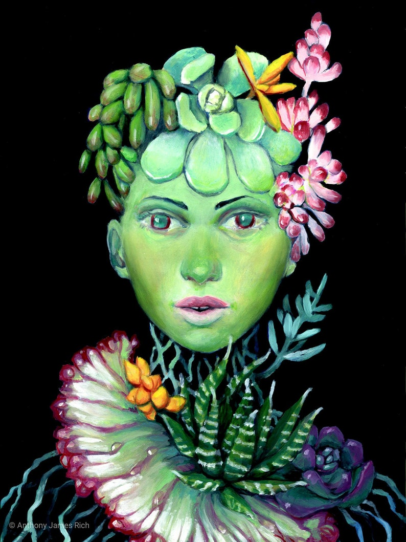 Succulent  Oil on Panel with Frame image 0