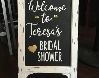 bridal shower welcome chalkboard sign