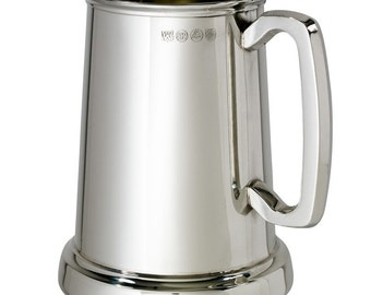 Kings Shilling Pewter Tankard with Glass Base