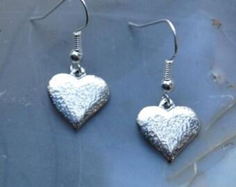 Textured Heart Pewter Earrings