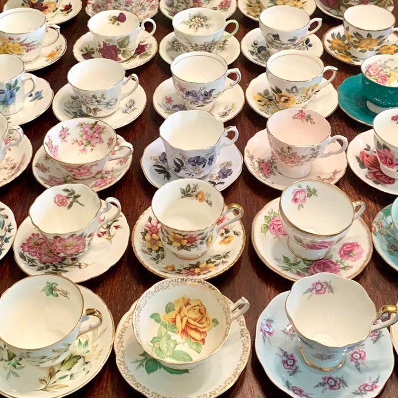 Mismatched Tea Cups and Saucers  Tea Cups  Mix Match Tea image 0