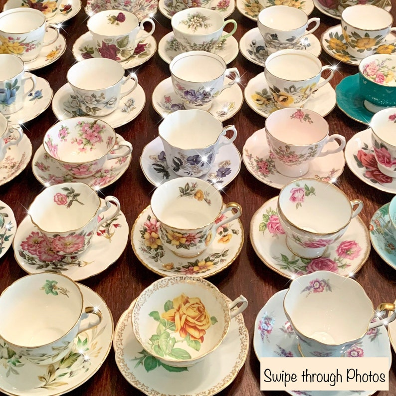 Mismatched Tea Cups and Saucers  Tea Cups  Mix Match Tea image 0