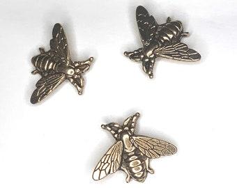 3 little bees vintage style lapel pins