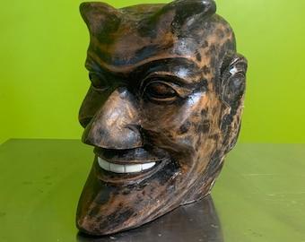 Handcarved Wood Handsome Devil Head