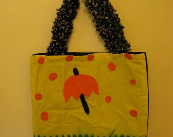 Rainy Day Felt Tote Bag made with Recycled Fabrics