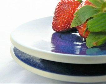 "Two Sasaki Colorstone Ceramic Saucer Plates -  Sapphire Blue Color - Lella and Massimo Vignelli Design - Minimalist Tableware Pair - 6"" Wide"