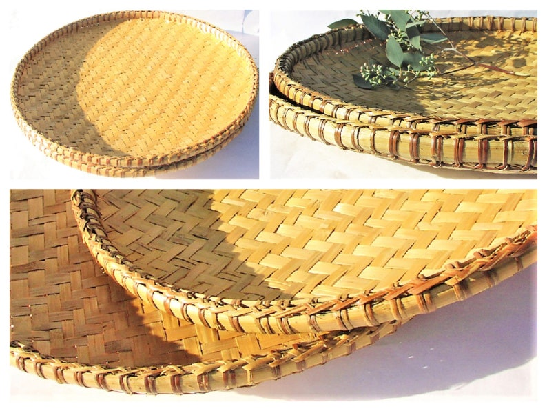 525f244530f7d9 TWO Big Wicker Tray Baskets Natural Round Shape Large Woven
