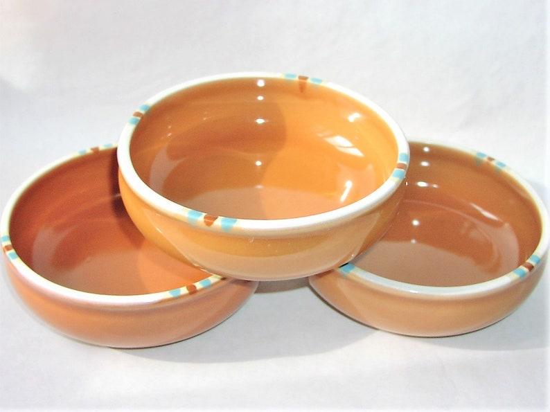 Terra Cotta Orange Color Clay ONE Original Dansk Mesa Terracotta Ceramic Small Soup Cereal Bowl Made in Japan Rust White Trim Design 6