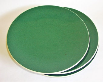 "Three Sasaki Colorstone Dinner Plates - Hunter Green Color Ceramic Plate Lella/Massimo Vignelli Design Minimalist Tableware 10 6/8"" Set of 3"