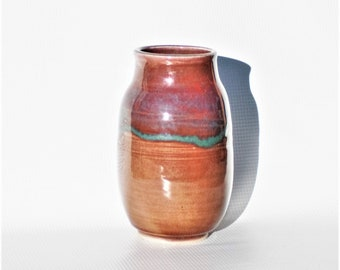 Vintage Handmade Pottery Vase in Gorgeous Tan Beige Browns, Teal Blue & Purple Colors, Minimalist Decor Small Display Vases Flower Container