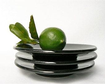 "Set of 3 Black Sasaki Colorstone Saucer Plates - Glossy Glazed Black Plates - Massimo Vignelli Design Minimalist Tableware Stoneware 6"" wide"