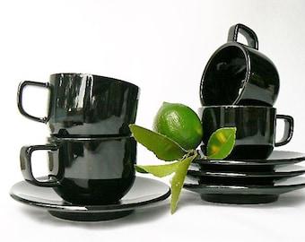 Set for 4 Black Sasaki Colorstone Cups and Saucers - Glossy Glazed Black - Massimo Vignelli Design Minimalist Tableware - 4 cups + 4 Saucers