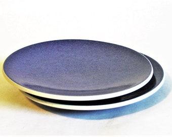 "Two Sasaki Colorstone Salad Plates, Sapphire Blue Color - Massimo Vignelli Design Minimalist Tableware Glazed Stoneware Vintage 7"", Set of 2"