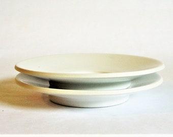 """Two Sasaki Colorstone Matte White Saucer Plates for Cups 5 3/4"""" Wide, Massimo Vignelli Design Minimalist Tableware Glazed Stoneware Ceramics"""