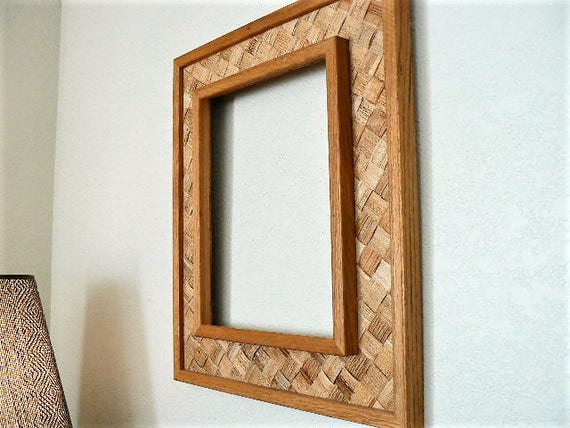 Large Woven Wicker and Solid Wood Frame / Vintage Handmade   Etsy