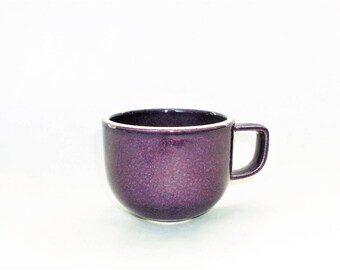 "Sasaki Colorstone Ceramic Mug, Coffee / Tea Cup in Plum Color - Lella/Massimo Vignelli Design - Minimalist Stoneware Tableware, Japan 2 12"""
