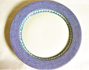 Original Dansk Mosaic Wave Dinner Plate - White Ceramic with Blue Tile Design Border / Trim Niels Refsgaard Design w/ Portugal Made Mark 11""