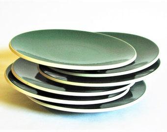 "Two Sasaki Colorstone Salad Plates, Hunter Green Color - Massimo Vignelli Design Minimalist Tableware Glazed Stoneware Vintage 7"", Set of 2"