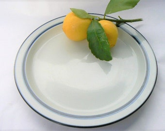 One Dansk Bistro Dinner Plate White Ceramic Christianshavn Series Blue Border/Trim Niels Refsgaard Design - Earlier, Japan Made Mark 10 3/8""