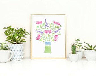 Watercolor Print - Pink Watercolor Flowers - Flower Wall Art - Watercolor Bouquet Art - Flower Watercolor Print Mother's Day Print
