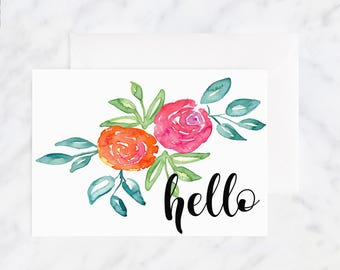 Thinking of You Card - Friendship Card - Hello Card - Greeting Cards - Love Cards - Blank Card - Illustrated Cards - Watercolor Card