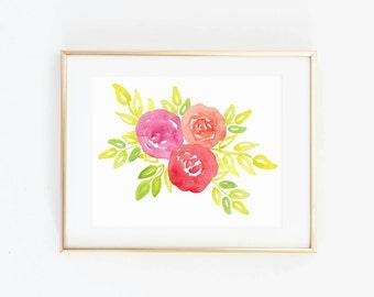 Watercolor Flower - Floral Watercolor Print - Flower Wall Art - Gallery Wall - Rose Print - Rose Art - Floral Watercolor Painting