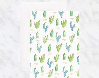 Blank Cactus Card - Birthday Card - Just Because Card - Friend Card - Happy Birthday Card - Thinking of You Card - Watercolor Card
