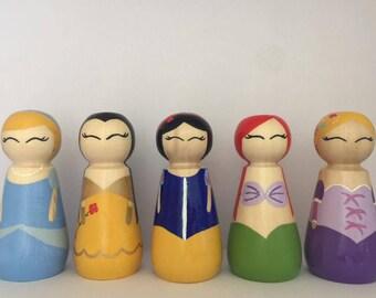 Princess Wooden Peg dolls 12cm. Set of 4