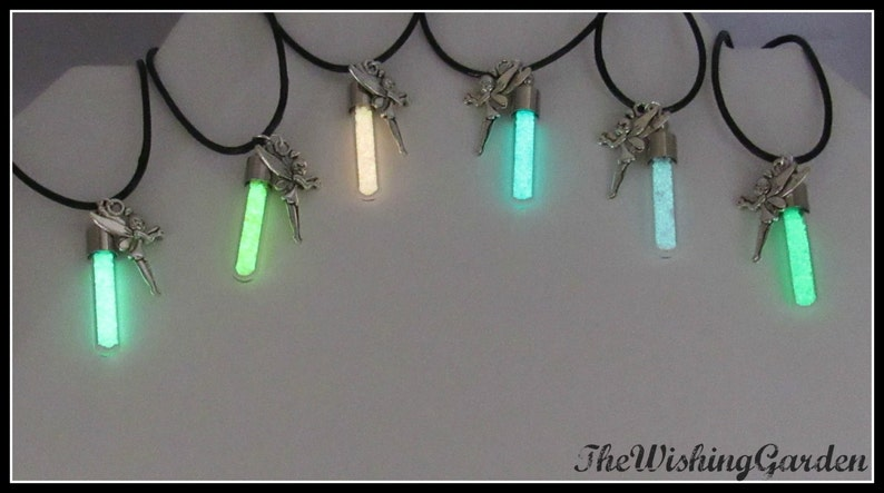 Glow in the Dark Wishing Dust Necklace with Fairy Charm