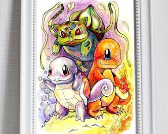 Pokemon Print - Bulbasaur, Charmander and Squirtle