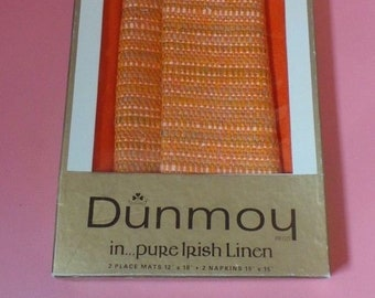 Vintage / Retro DUNMOY Irish Linen 1970s 2 Place Mats & 2 Napkins BOXED