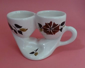 Vintage 1960's Toni Raymond Double Egg Cup Hand Painted With Groove For Salt