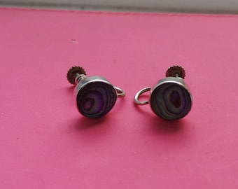 Vintage Sterling Silver Abalone Shell Clip On Earrings