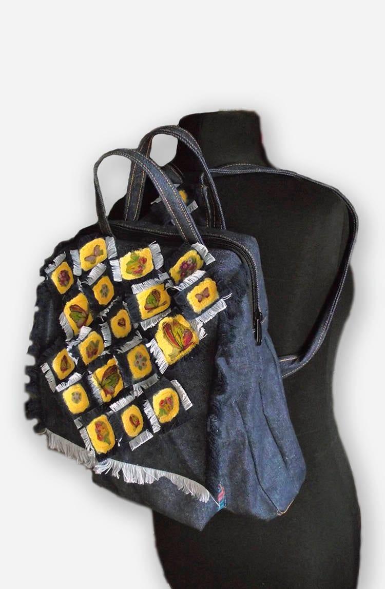 Promo Harga Niion Hipbag Navy Terbaru 2018 Darkgrey Denim Backpack Bag For Women Blue Canvas Upcycled Etsy Zoom