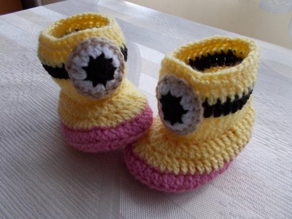 Gehäkelte Babyschuhe Häkeln Minion Baby Baby Hausschuhe Etsy