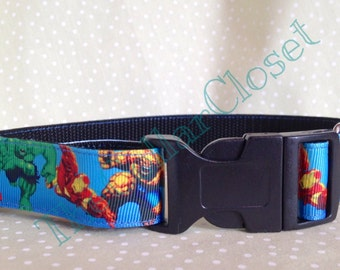 Super Heroes Avengers Blue  Dog Collar SALE
