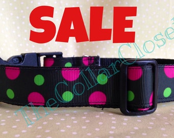 Pink And Green Spotty Dog Collar