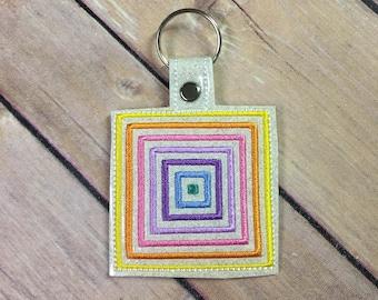 Rainbow Square, Unicorn Clothing Embroidered Keychain, Key chain, KeyFob, Snaptab