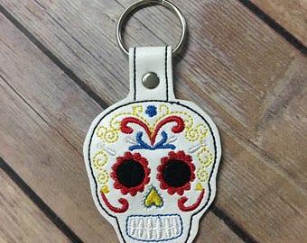 Sugar Skull, Day of the Dead, Skull Embroidered Keychain, Key chain, KeyFob, Snaptab