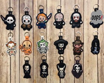 Chibi Horror Inspired Embroidered Keychain, Key chain, KeyFob, Snaptab - Choose One or More!