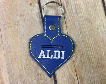 Aldi Quarter Holder, Quarter Keeper, Aldi Shopping Cart Coin Holder Embroidered Keychain, Key chain, KeyFob, Snaptab