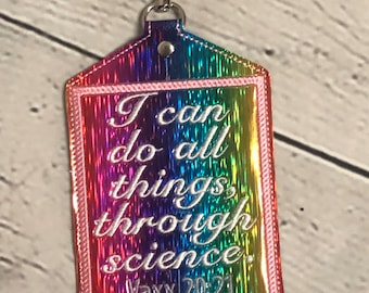I Can Do All Things Through Science Vaccine Card Holder with a Swivel Clasp - Vaccination Card Holder, CDC Card Holder -Covid 19 Card Holder