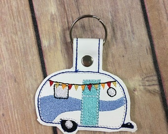 Camper - RV - Trailer- Mobile Home  Embroidered Keychain, Key chain, KeyFob, Snaptab