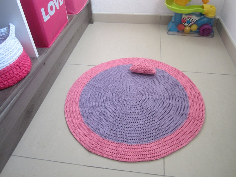 Tapis chambre bébé, tapis chambre fille, tapis coton, tapis bébé,  décoration fille, tapis rond rose, décoration chambre, tapis crochet