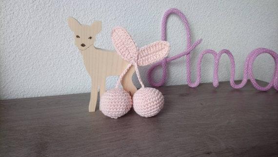 Cerises Au Crochet En Rose Pastel Pour Déco Chambre Bébé Fille Idée Cadeau Naissance Ou Anniversaire De Petite Fille