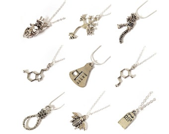 Silver science nature necklaces anatomy morbid jewellery insects chemistry biology dinosaurs serotonin bones pendant Big bang theory