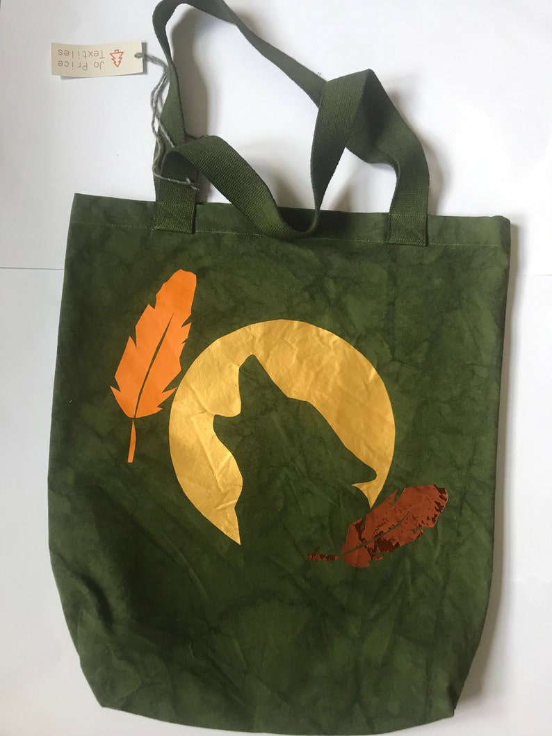 green wolf moon and feather Smokey Jo Designs Tote Bag